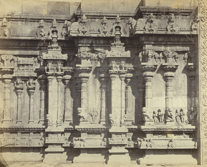 Madura. Trimul Naik's Portico. Carvings on base of unfinished gateway